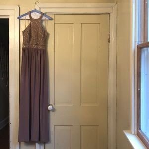 Taupe sequined floor length dress